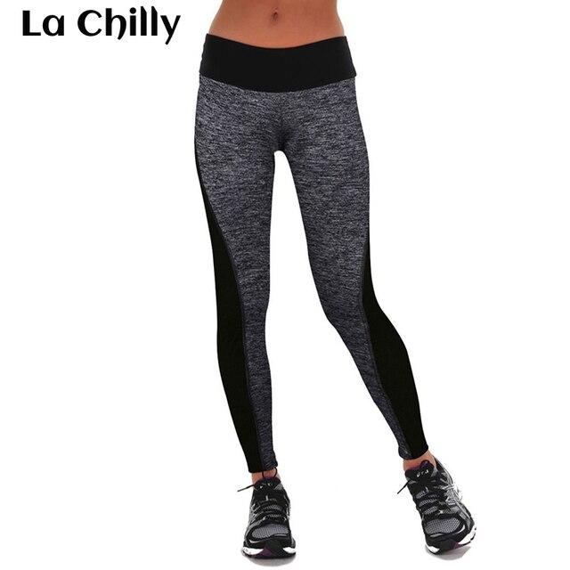 80ae952f6e7b5 2018 New Arrival Women Leggings Fitness Summer Workout Leggings New Ladies  Plain Elastic Waist Black Grey Patchwork Legging