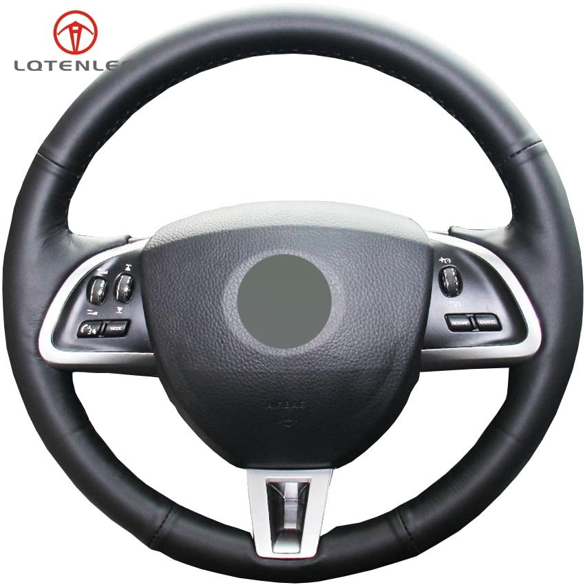 Jaguar Xf Sportbrake: LQTENLEO Black Genuine Leather Car Steering Wheel Cover