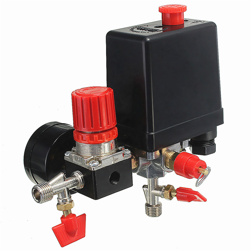 240V 0-180PSI Air Compressor Pressure Regulator Valve Switch Manifold Relief Regulator Gauges 45*75*80mm Popular Valves