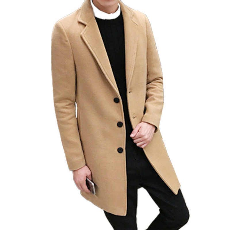 2019 Spring Men's Casual Long Sleeve Woolen Coat / Men's Solid Color Long Trench Coats Blends / plus size 5XL(China)