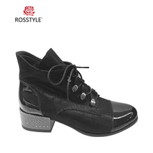 ROSSTYLE Fashion Spring Autumn Zipper Suede Boots Retro Round Toe Sweet Bow-knot Lace-up Square Heels Ankle Black Blue B96