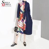 2019 Korean Style Women Shirt Dress Long Sleeve Blue Black Patchwork Design Female Knee Length Plus Size Dresses Robe Femme 4798