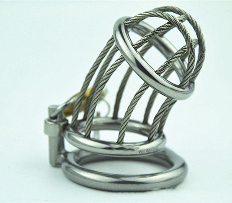 Chastity lock Stainless Steel wirerope Male Chastity Device Cock Cage Fetish Virginity Penis Lock Cock Ring цена