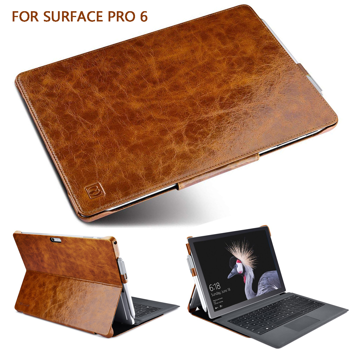 Oil Wax Genuine Leather Case for Microsoft Surface Pro 6/New Surface Pro 2017 Magnetic Snap Kickstand Smart Wake/ Sleep Pen LoopOil Wax Genuine Leather Case for Microsoft Surface Pro 6/New Surface Pro 2017 Magnetic Snap Kickstand Smart Wake/ Sleep Pen Loop