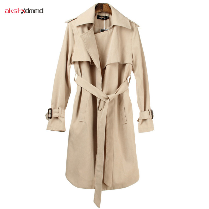 2019 New Women's   Trench   Coat Solid Color Long Thin Windbreaker Belt Button Casual Female Commuter Clothing Casaco Feminino AC002
