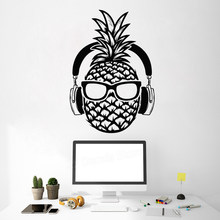 Creative Pineapple DJ Vinyl Wall Decal Headphones Sunglasses Teenage Decor Stickers Mural Home Decor Bedroom Game Room Z822(China)