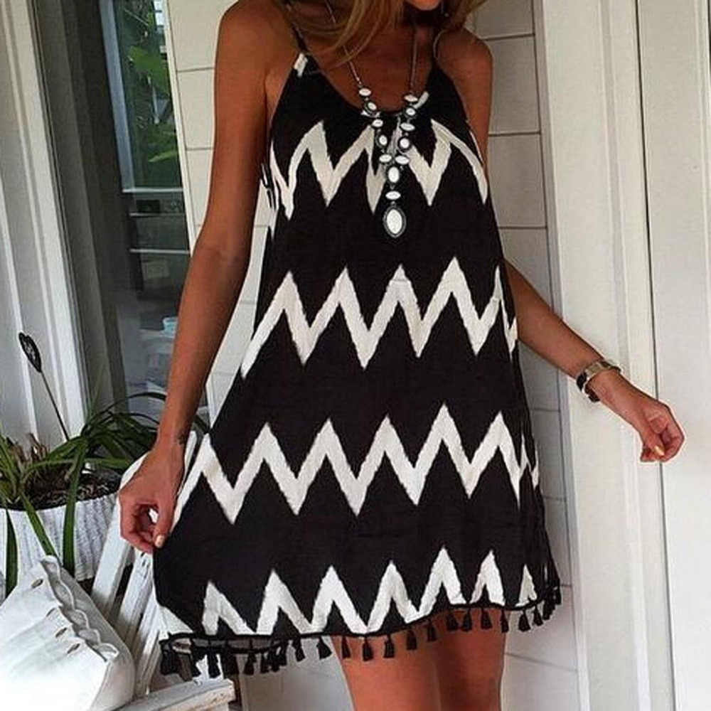 Summer Women Sexy wave pattern tassel strap Sleeveless Holiday Dress Short Sleeve Casual Party Clothing Dress