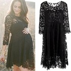 New 2018 Sexy Black Lace Maternity Dresses Long Sleeve Pregnancy Dresses Maternity clothes for Pregnant Women Lace Dress