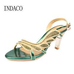 Strass femmes mariage sandales talons hauts creux diamant boucle sangle bout ouvert Sandalen Vrouwen grande taille 41 femme chaussures