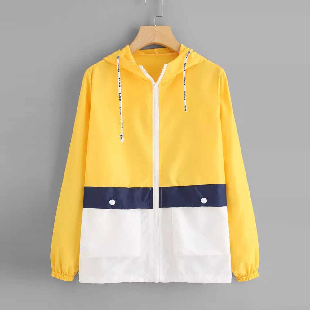 JAYCOSIN ファッション新コートとジャケット女性長袖パッチワーク薄 Skinsuits フード付きコート 2019 秋