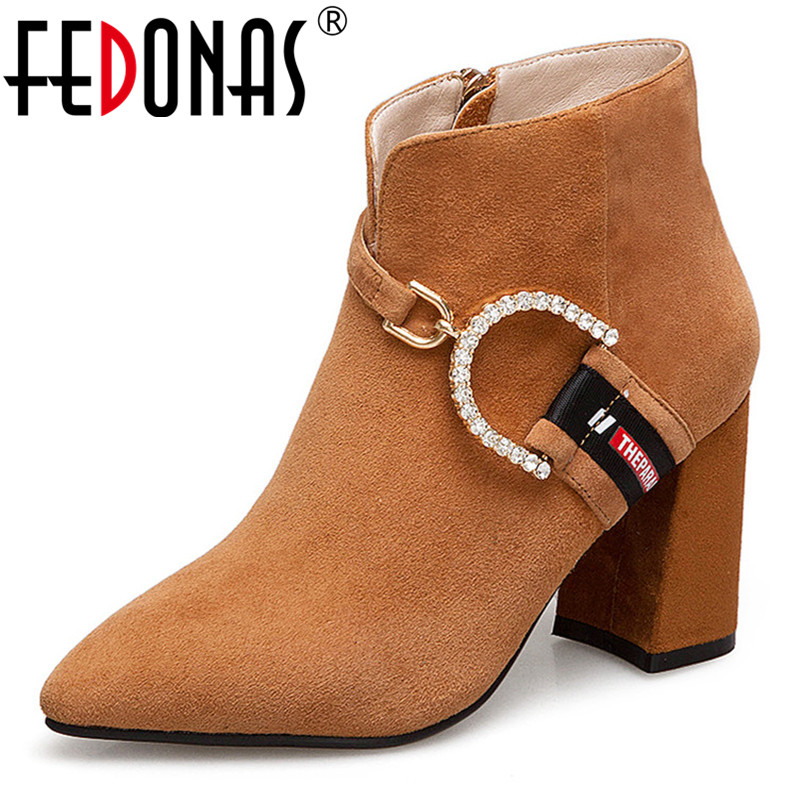 FEDONAS Fashion Women Ankle Boots High Heels Genuine Leather Autumn Martin Boots Zipper Rhinestone Buckles Party Shoes Woman форма для запекания круглая 26х6 см едим дома тоскана tv069