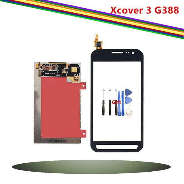Pantalla LCD de repuesto de 4,8 pulgadas para Samsung Galaxy Xcover 3 Panel de pantalla táctil teléfono móvil SM-G388, blanco y Negro