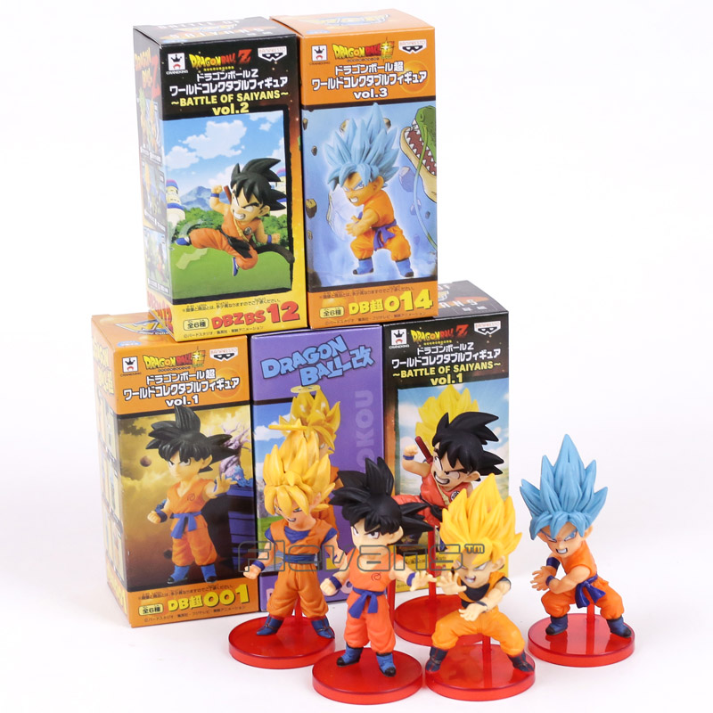 где купить Dragon Ball Z Super Battle of Saiyans Son Goku PVC Figures Collectible Model Toys 5pcs/set 8cm по лучшей цене