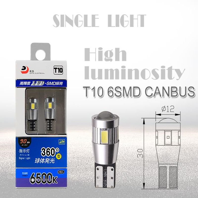 T10 LED Clearance Lights Canbus Automobiles External Lights Cars Bulbs Super White 6000K DC 12 Voltage
