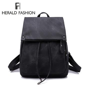 952f09541792 Herald модные из искусственной кожи рюкзак женские рюкзаки для  девочек-подростков школьные сумки летние брендовые винтажные Рюкзаки  Mochilas Escolar