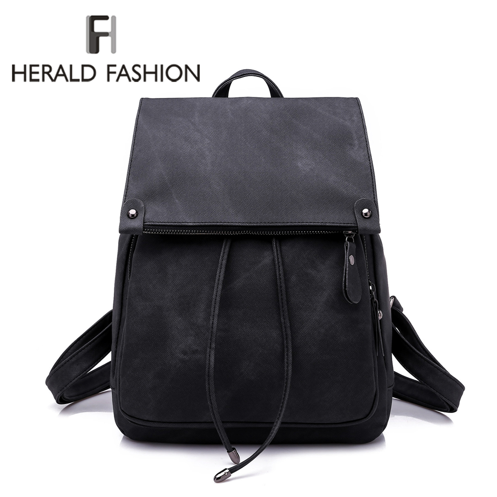 Herald Fashion PU Leather Backpack Women Backpacks For Teenage Girls School Bags Summer Brand Vintage Backpack Mochilas Escolar canvas floral print backpacks shoulder bags for girls school bags black summer brand vintage backpack mochilas mujer d38j16