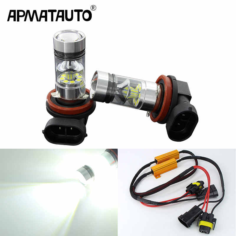 2pcs x Super White H8 H11 3030 20SMD LED Fog Light Driving Bulbs 12V~24V +Canbus Decoders For Bmw AUDI Mercedes VW Chevrolet