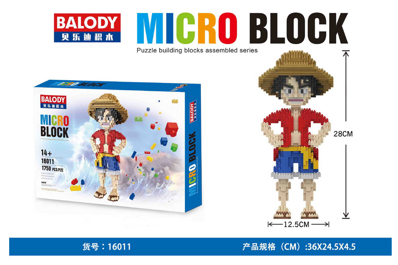 Balody 16011 Mini Blocks One Piece Luffy Diamond Particles Doll Magic Diamond Building Bricks Toys Gift For Children balody mini blocks big size mario diy building toys large one piece bricks cute auction juguetes for kids toys 16001 16009