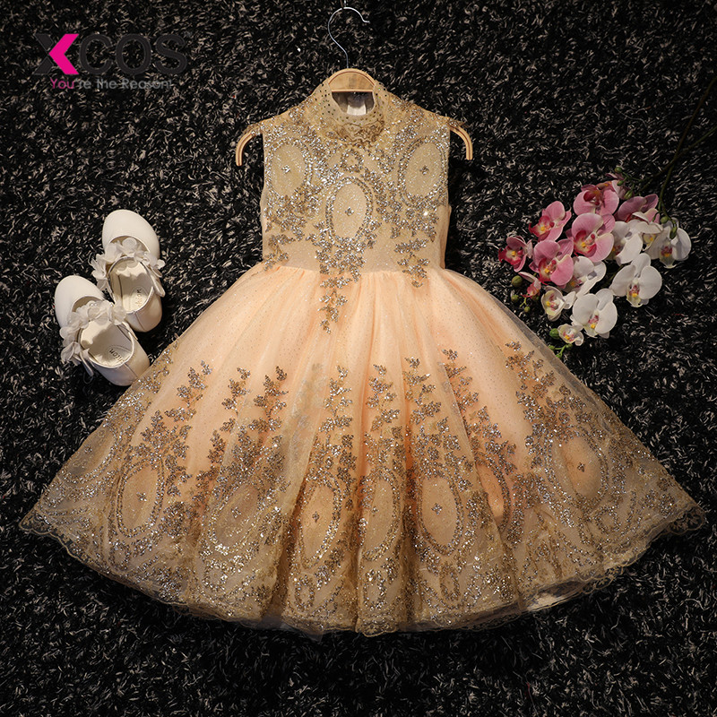 XCOS 2018 Royal   Flower     Girl     Dress   for Weddings Lace Sequin Ball Gown   Girl   Party Communion   Dress   Pageant Gown Gold Color