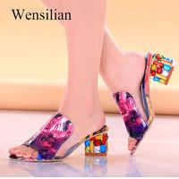 Fashion Crystal Sandals Women Elegant Peep Toe Sandals Square Heels Rhinestone Ladies Pump Sandalia Feminina sandalias de flores