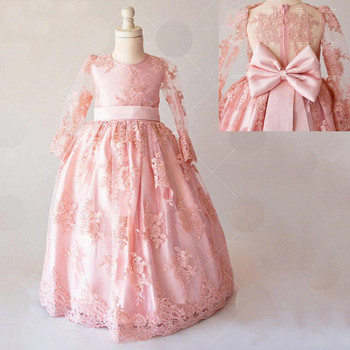Chic Formal Party Gowns Dust Pink Tulle Flower Girl Dress with Lace Appliques Big Bow Zipper Back O-Neck Full Sleeve Custom Made
