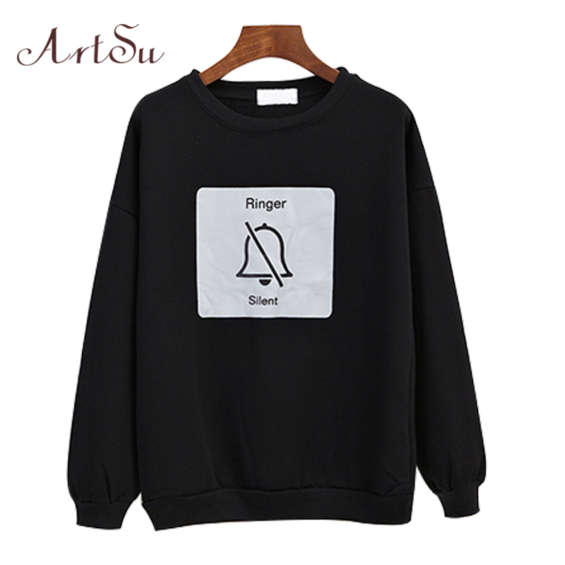 ArtSu Hoodies Sweatshirt Vrouwen Losse Hoody Bell Cartoon - Dameskleding