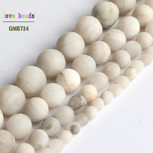 Natural Matte White Chrysocolla Round Marble Beads for Jewelry Making DIY Bracelet 15inches 4mm 6mm 8mm 10mm(China)