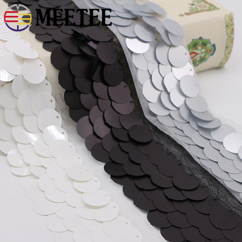 4M 45mm Eco-Friendly Mesh Sequins Lace Trims White Black Ribbons Webbing for Latin Dance Dress DIY Wedding Hair Accessories
