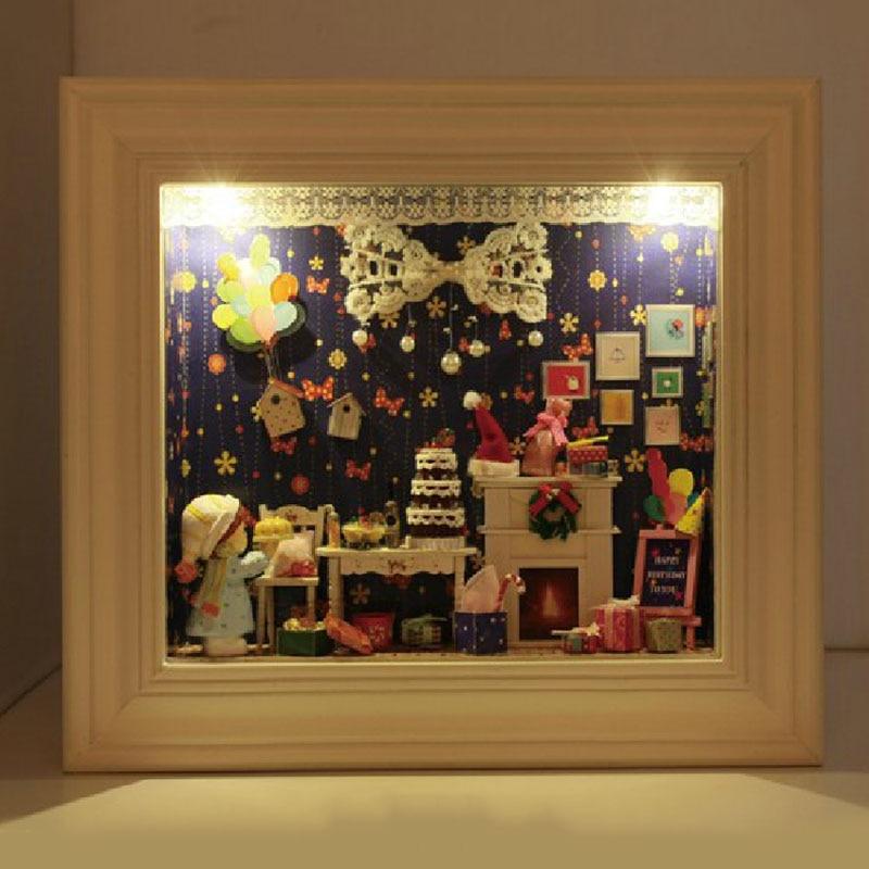 Bricolage 3D construction en bois maison de poupée Miniature assembler des Kits de Puzzl avec des jouets de meubles pour les cadeaux créatifs faits à la main de Festival de MM/GG