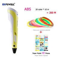 Myriwell 2nd 3D Pen Doodler Low Heat Making Doodle Arts Crafts Multi Color ABS Filament 20color
