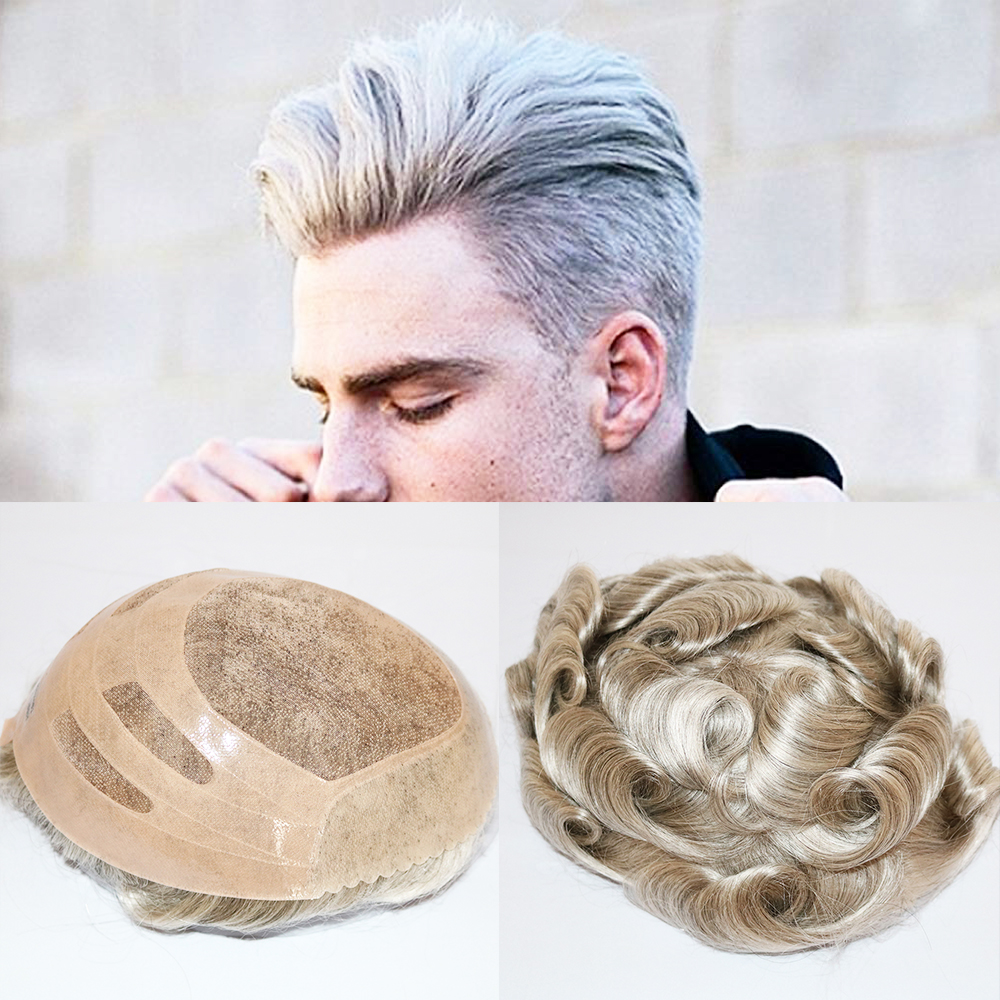 SimBeauty Mono Lace Men Toupee Mono Lace Base With Npu Toupee Npu Wig For Men Durable 8x10