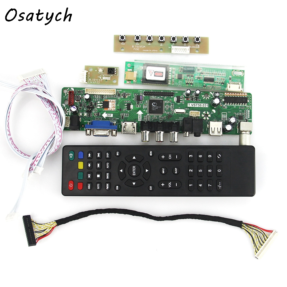 T.VST59.03 LCD/LED Controller Driver Board for B154EW08 LTN154X3-L01 (TV+HDMI+VGA+CVBS+USB) LVDS Reuse Laptop 1280x800 lcd led controller driver board for b156xw02 ltn156at02 t vst59 03 tv hdmi vga cvbs usb lvds reuse laptop 1366x768