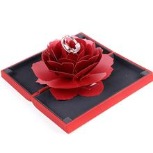 valentine's day Ring box Hot Women Unique Pop Up Rose Wedding Engagement Rings Box Surprise Jewelry Storage Holder New