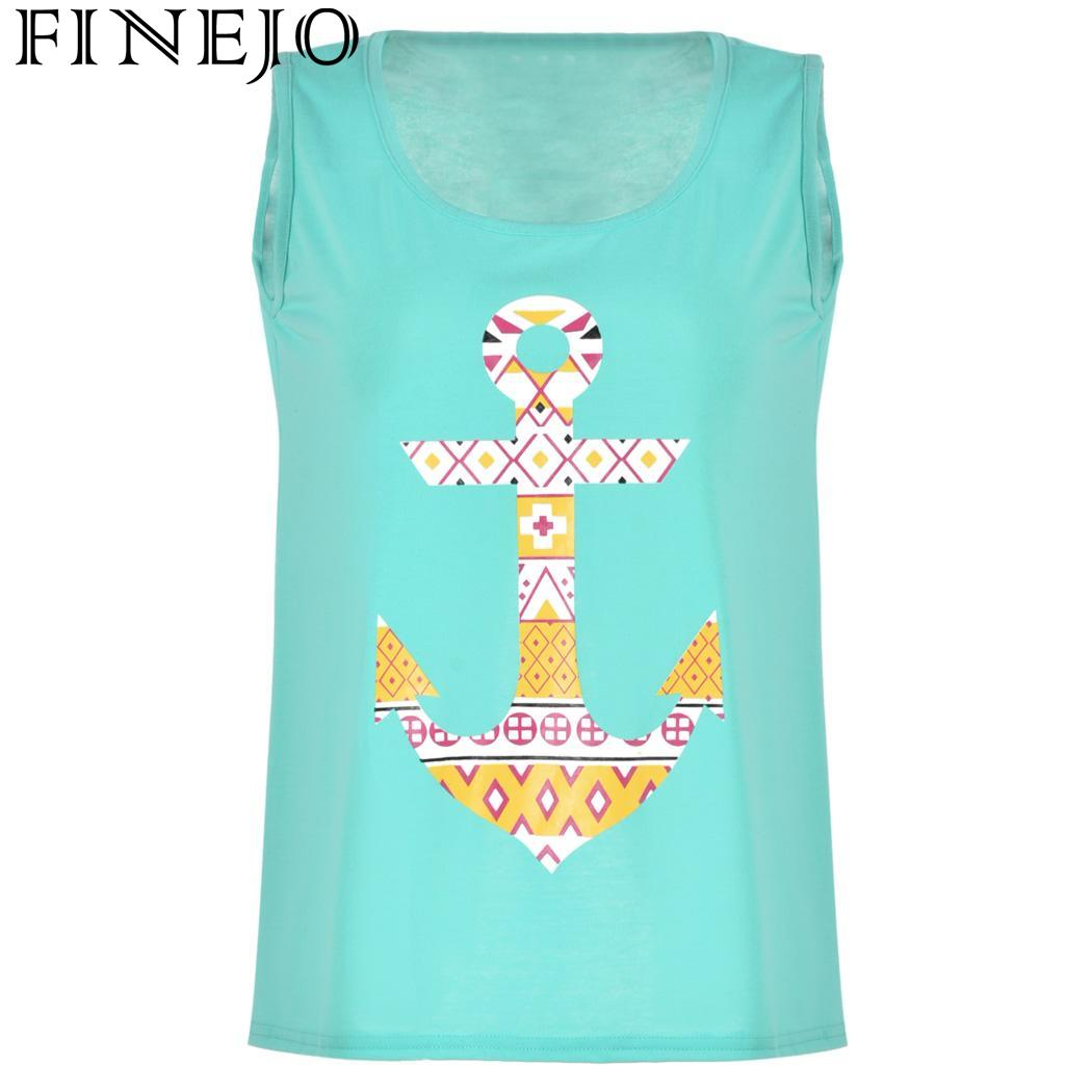 FINEJO O-Neck Loose Print Casual Split Tank Sleeveless Beach Sexy Tops Back Women
