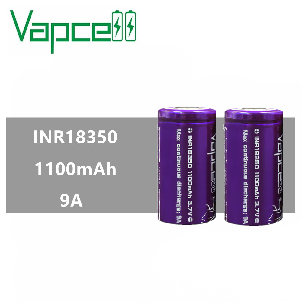 12pcs VAPCELL INR18350 18350 battery 1100mAh mini lithium rechargeable battery 9A electronic smoke E CIG VS Keeppower-in Rechargeable Batteries from Consumer Electronics    1