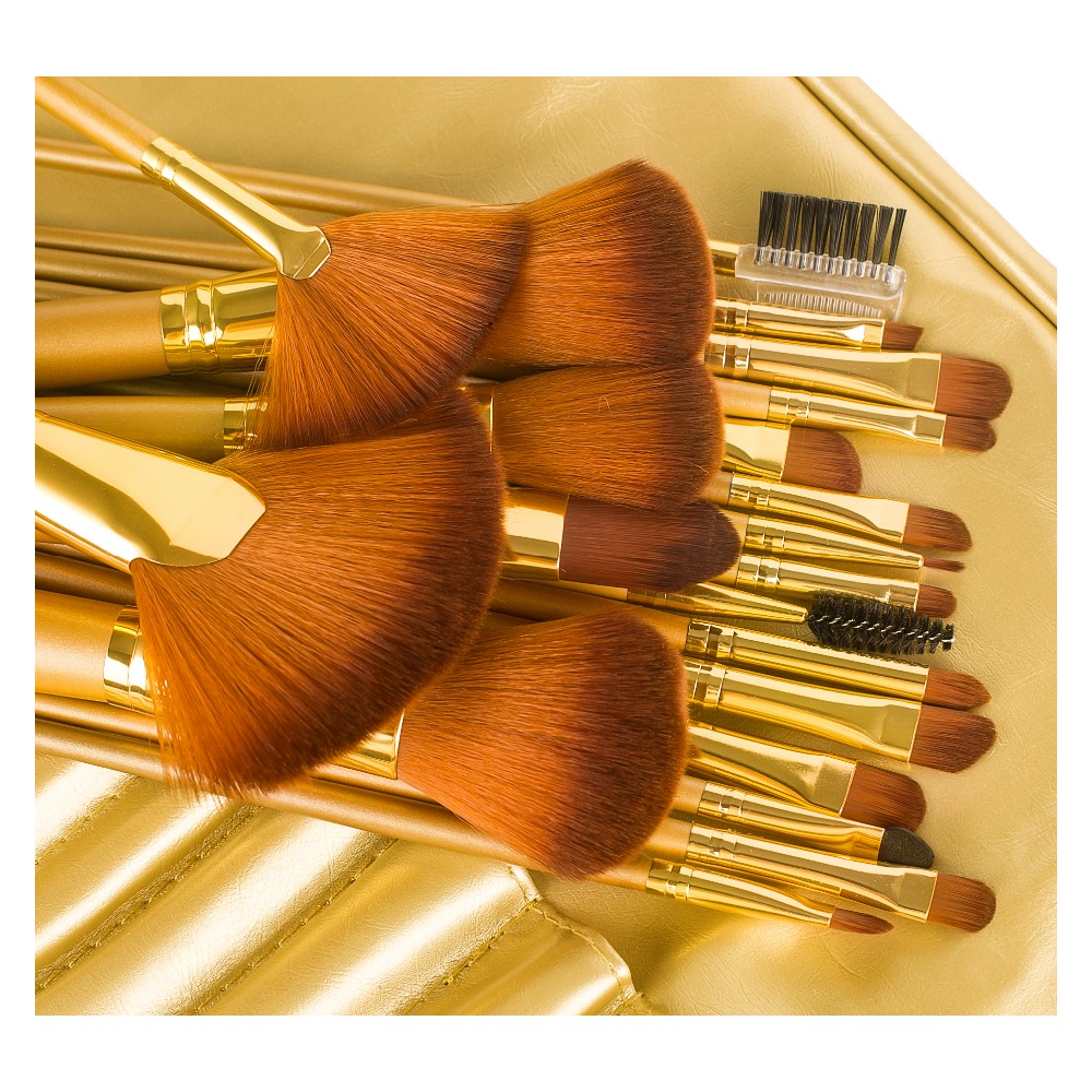 21 Pcs/Set Brushes for Makeup Natural Hair Brush Set professional Cosmetic Make Up Tools Kits Luxury Gold Color