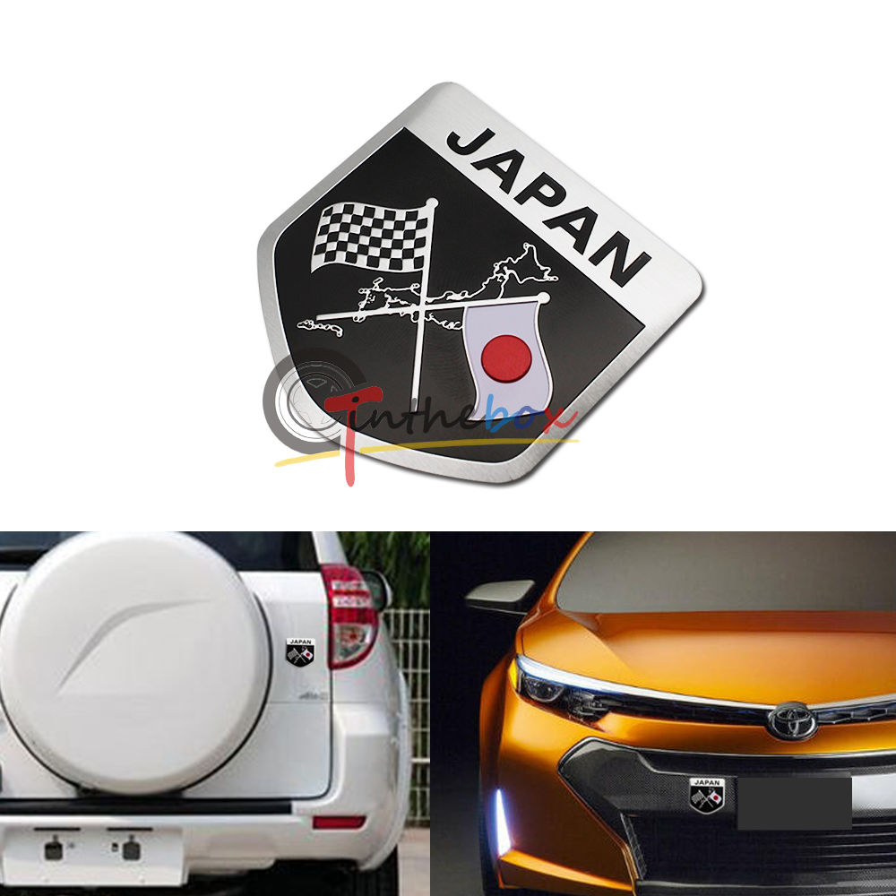 (1) Japanese JDM Racing Red Sun Flag Badge For Japan Cars Toyota Honda Lexus etc