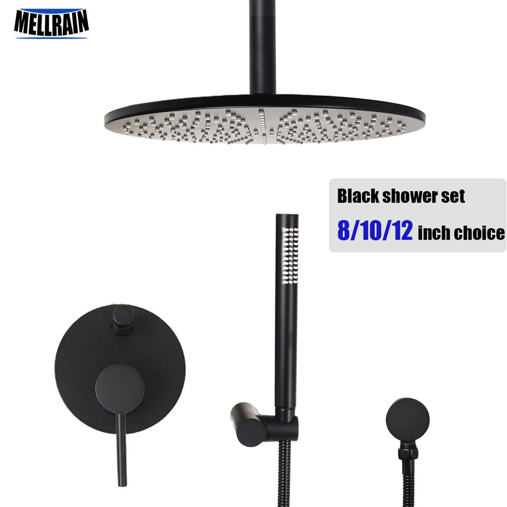Quality brass black ceiling mount shower set round rain shower head 8 10 12 inch choice bathroom water mixer bath faucet set
