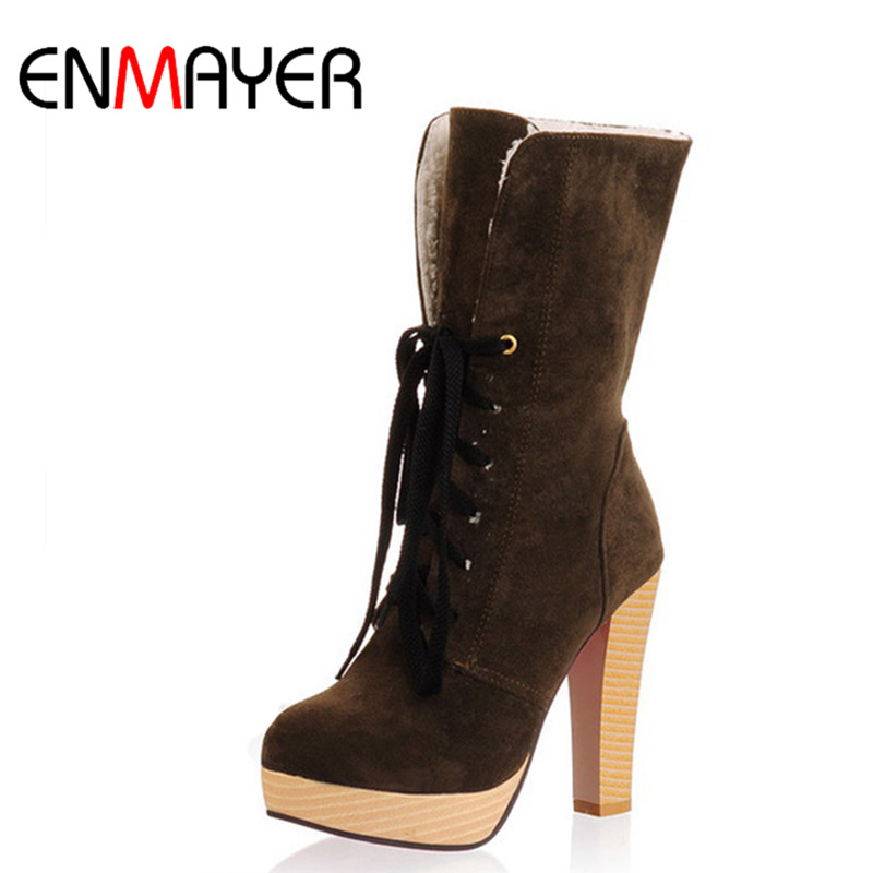 ENMAYER Sexy High Quality Suede Shoes Women High Heel Boots Women Mid-Calf Lace-up Black Brown Round Toe Large Size Winter Boots hot sale women shoes lace up round toe mid calf boots for women fashion print floral embellished denim shoes retro femme boots