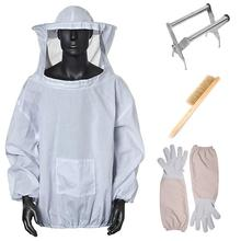 4 In 1 Bee Keeping Suit Beekeeping Jacket With Veil Beekeeper Jacket Gloves Bee Hive Brush And Bee Box Clip
