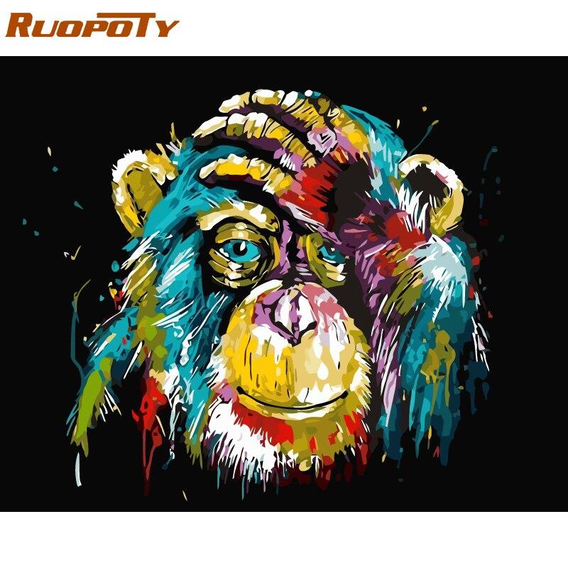 RUOPOTY Rahmen Orang-utan Tiere DIY Ölgemälde Durch Zahl Kalligraphie Malerei Acrylfarbe Auf Leinwand Für Wohnkultur 40x50 cm