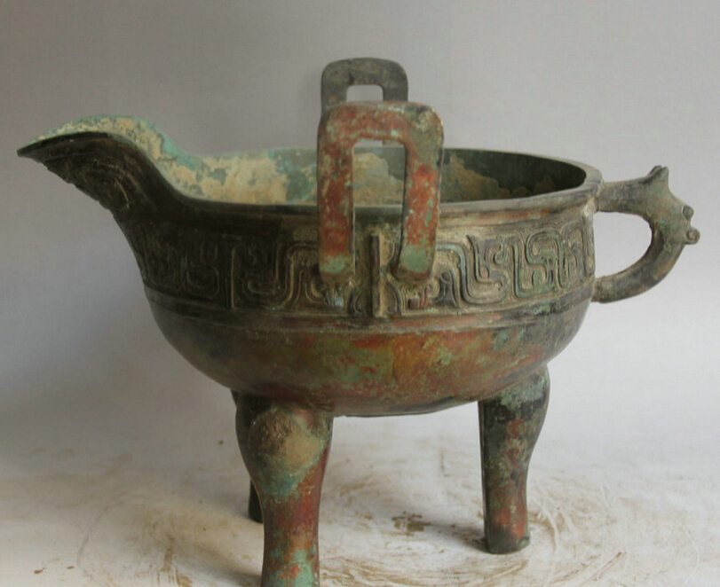 """Collectible bronze S2042 14"""" Old Chinese Bronze Folk 3 Foot Beast handle cup goblet Incense Burner Censer