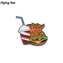 Flyingbee Burger fries coke Brooch Enamel Pin For Clothes Backpack badge Personality Hat Kids Funny Badge X0174