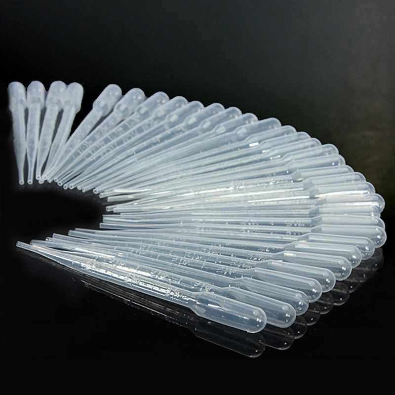 Kicute 100 pcs Transparante Wegwerp Veilig Plastic Eye Dropper Pipetten Transfer Meetpipetten 3 ML Lab Experiment Supply