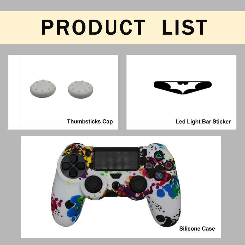 Soft Silicone Gel Rubber Skin Cover For SONY Playstation 4 Controller  Silicone Analog For PS4 Pro Gamepad LED Light Bar Sticker