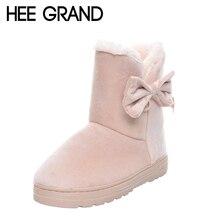 Hee Grand/Новая горячая Распродажа женские зимние ботинки без застежки на цельнолитой мягкие изящные женские сапоги круглый носок зимняя обувь на плоской подошве XWX1385