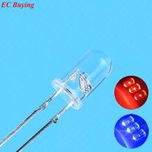 50 шт./лот 5 мм мигающий красный/синий светодиодный фонарик 10000mcd 5 мм мигающий красный/синий светодиодный светильник 5 мм двухцветный