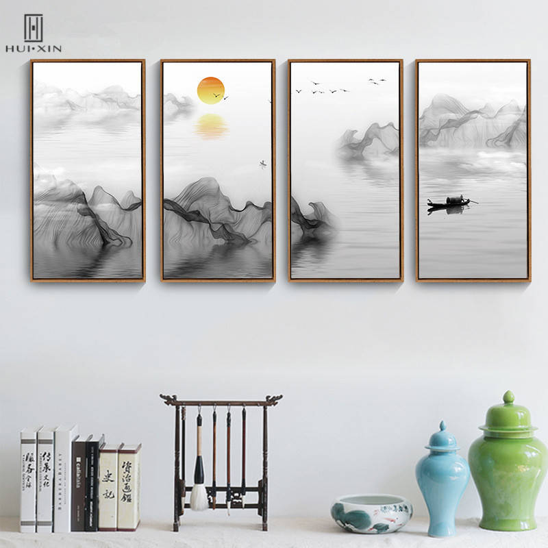 Traditional Chinese Style Mountain&River Posters Squint Frameless HD Wall Art Print Canvas Paintings For Home Living Room Decor