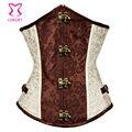Bege aço desossado steampunk corzzet underbust espartilhos e corpetes cintura emagrecimento plus size sexy gothic corpetes