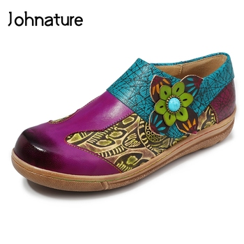 Johnature 2020 New Spring/autumn Handmade Retro Loafers Women Genuine Leather Round Toe Appliques Soft Sole Women Flat Shoes